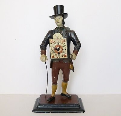 ANTIQUE JvE Rare FIGURAL Cast Iron PENDULUM CLOCK Peddler Seller MAN Dutch TIME