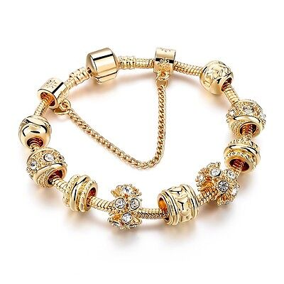 Exklusives Gold Armband Bettelarmband mit 9 Charms