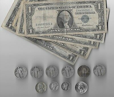 Mixed lot of $5 face Silver Certificates plus $2 face 90% & 35% US Silver Coins