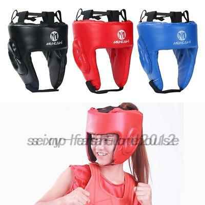 MMA Fighting Head Guard Leather Boxing Helmt Headgear Protector Adjustable