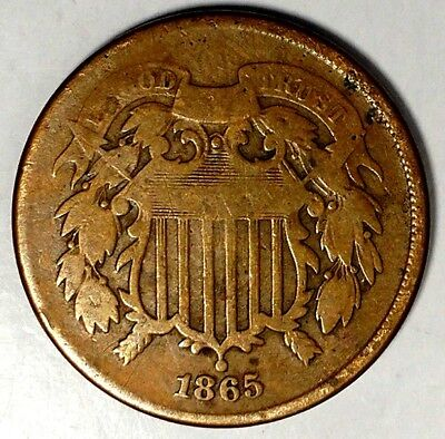 1865-P 2C Copper Two Cent Piece 18cwc0405  Only 50 Cents for Shipping