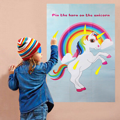 Pin the Horn on the Unicorn Party Games Kids Birthday Party Favors Decorations