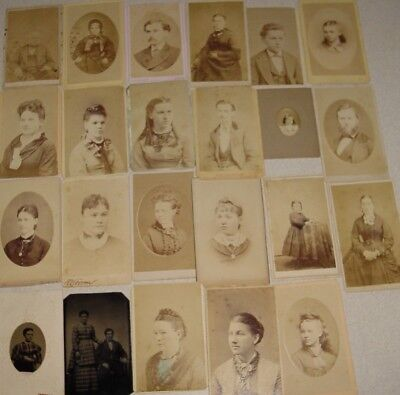 Lot of 23 Old Professional Photographs Some Tin Photos Antique 1800s
