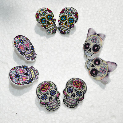 Punk Unky Mexican Sugar Skull Day of the Dead Kitsch Art Gothic Stud Earrings UK