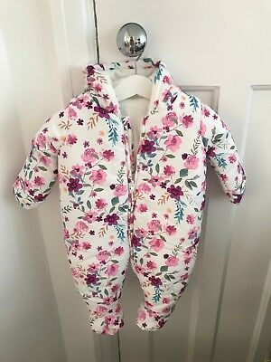 Mothercare BNWT baby girl floral fleece lined snowsuit with zip 0-3 MONTHS