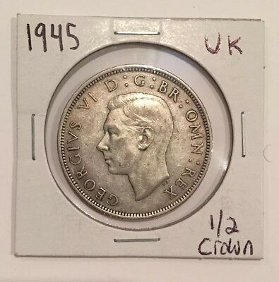 1945 Great Britain 1/2 Crown Silver Coin