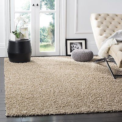 Safavieh Athens Shag Collection SGA119G Beige Area Rug, 5 feet 1 inches by 7...