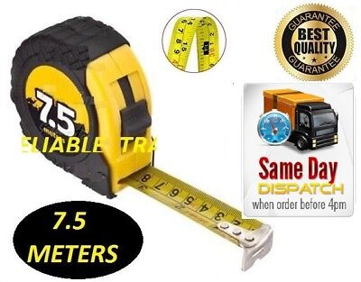 7.5M Retractable Metal Tape Measure Powergriplock Metric Imperial Measuring 25Ft