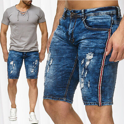 37a30a3f9017 MEN S BERMUDA SHORTS Racing Stripes Stretch Jeans Capri Pants Denim ...