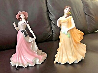 """Porcelain Figurines Sentiment """"Thank you"""" and """" My love"""""""