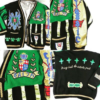 Vintage No Jeans Cardigan Sweater Embroidered Boroque Royal Art