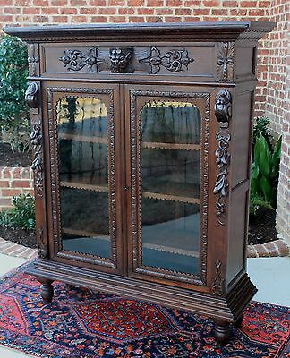 Antique French Dark Oak GOTHIC Renaissance Revival Bookcase Display Cabinet Lion