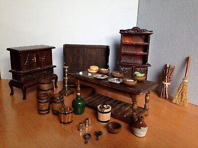 Dolls House Tudor Medieval Quality Lot 1/12 Table cupboards settle kitchen food