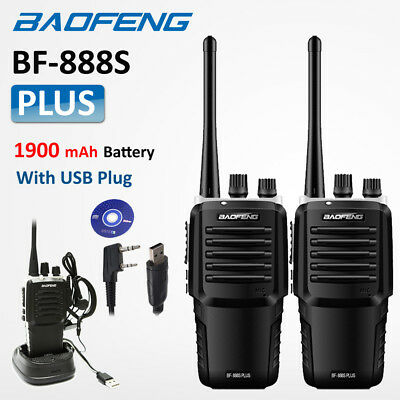 2x BaoFeng BF888S Plus Upgrade UHF Walkie Talkie Ham Radio Long Range +USB Cable
