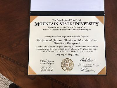 College Degree, add your name. Rare find, Closed University. Bachelor. Master's