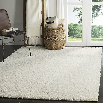 Safavieh Athens Shag Collection SGA119B White Area Rug, 5 feet 1 inches by 7...
