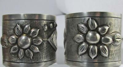 2 VINTAGE MEXICO REPOUSSE STERLING SILVER FLORAL NAPKIN RINGS 117.2gr SIGNED