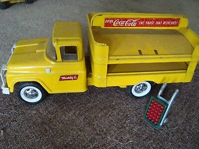 1950's Buddy L Coca Cola Truck Yellow/Red with Dolly case of soda