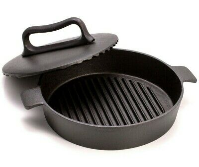 "9.4"" Cast Iron Skillet for Chicken Tabaka with Heavy Press Lid Grill Pan"