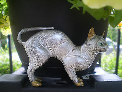 Vintage Brass Standing Cat ~ Arched Back ~ Painted Grey ~ Collectible Kitty