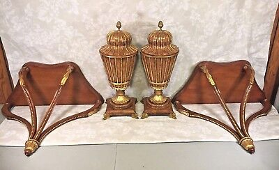 Vtg Maitland Smith Chestnut Urns w/ Lids & Matching Regency Style Wall Brackets
