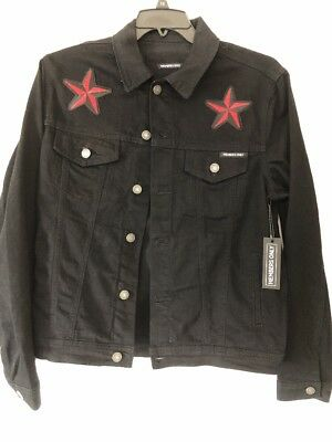 Members Only Men's Black Denim Jacket With Tiger and Stars