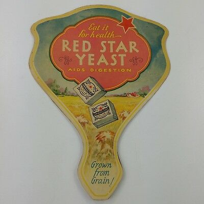 ba Vtg Fan Red Star Yeast 2 cakes 5 cents Advertising