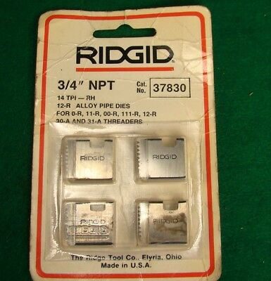"New Ridgid no. 37830 3/4"" NPT Pipe Threading Die Set of 4"