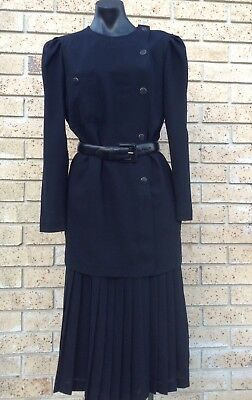 Vintage Pure Wool Black Dress 30s 40s Look Size 14 Retro 80s & FREE Leather Belt