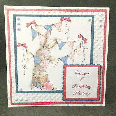 Handmade Card Baby Boy or Girl's 1st birthday 3D Personalised