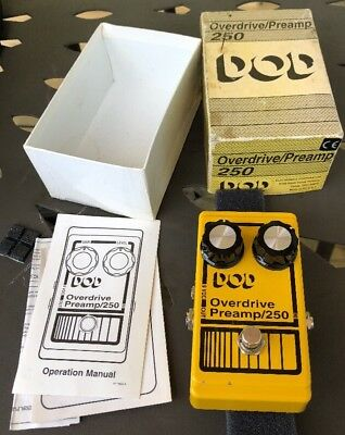 DOD 250 Overdrive Preamp 250 Pedal Yellow USA Complete Original Box With Manual