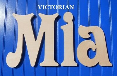 """Unpainted Wood Wall Letters 10"""" size Home Decor Kids Room Baby Nursery Victorian"""