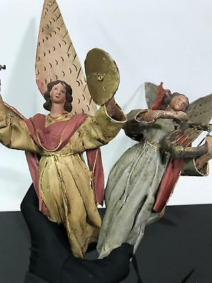 Vtg 2pc Arc Angels Christmas Ornaments Paper Mache Made in Italy