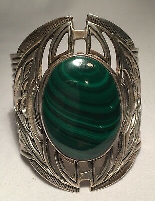 Antique Vintage Sterling Silver and Malachite French Bracelet! Gorgeous!