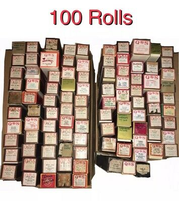 Lot of 100 Player Piano Rolls Variety Of Songs Mostly QRS