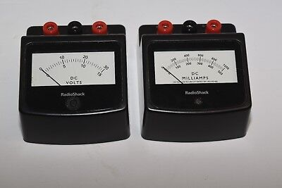Lot  of 2 Radio shack BenchTop  DC Ammeter and DC Voltmeter