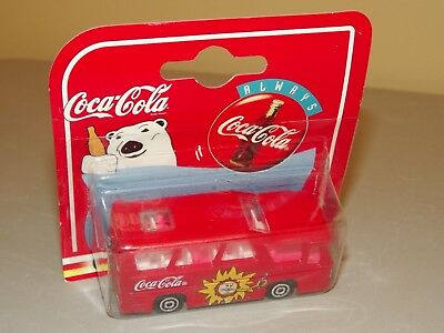 1997 Majorette Coca Cola Red Bus With Sun on Side MOC