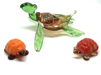 3 Hand  Blown Art Glass Turtles One Large & 2 Small