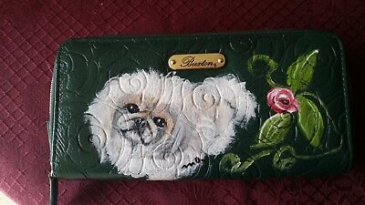 Hand painted Pekingese genuine leather Buxton  Rosegarden check book wallet
