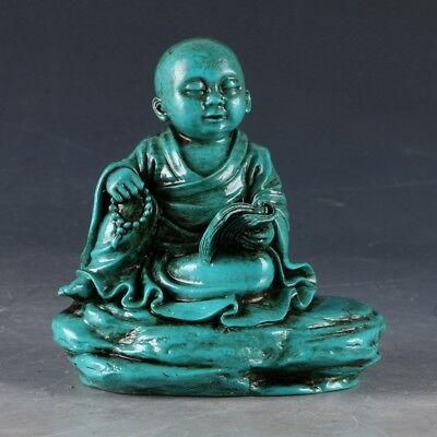 100% Natural Turquoise Hand Carved Buddhist monk & book  Statue  LSS025@