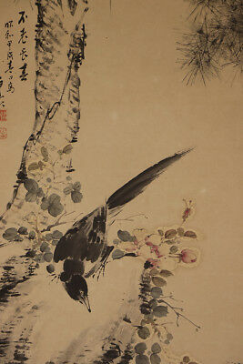 "JAPANESE HANGING SCROLL ART Painting ""Bird and Flower"" Asai Ryuto  #E2135"