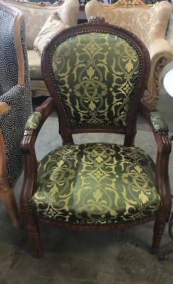 French Louis Fauteuil Style  Carved Timber Armchair ..Green/Gold Fabric