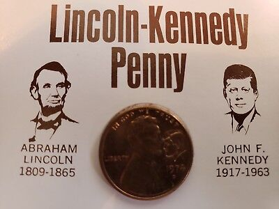 LINCOLN-KENNEDY Penny 1974 Stamped with Kennedy Profile