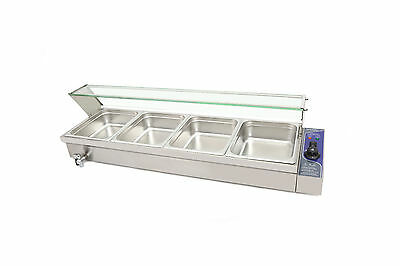 S/steel Hot Food Warmer Bain Marie 4 X 1/2 Gn Trays+Poly Cover Glass Display Wty
