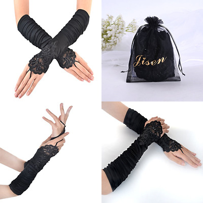 JISEN Gathered & Beaded Fold Floral Embroidery Lace Sequins Satin Gloves 15 Blac