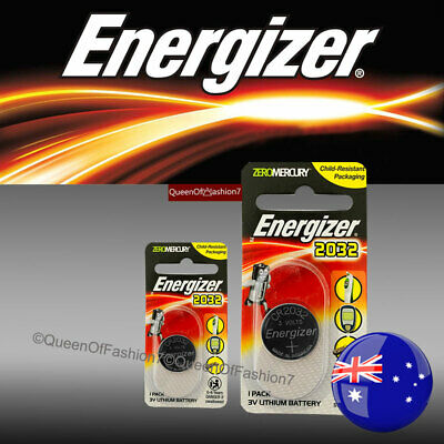 2 X Energizer CR2032 Single Packed Battery 3V Lithium Batteries Button