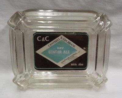 Vintage Cantrell&cochrane Dry Ginger Ale Estd.1852 Advertising Glass Ashtray