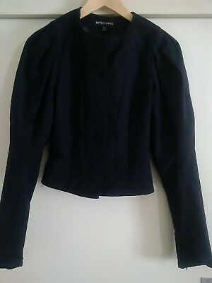 Vintage Bettina Liano Size 6 Black Fitted Jacket Concealed Button Placket