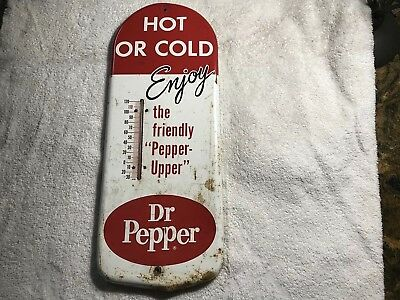 Vintage Metal Thermometer Advertising Dr. Pepper  Still Working