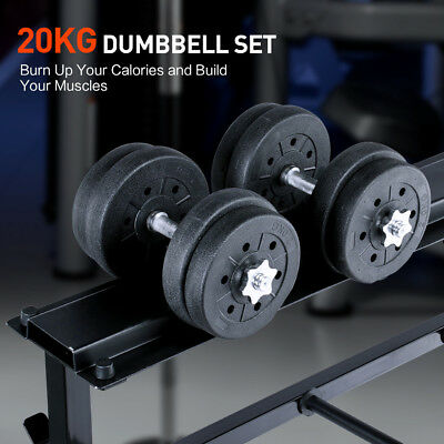 Adjustable 20KG Dumbbell Set Weight Dumbbells Plates Home Gym Fitness Exercise